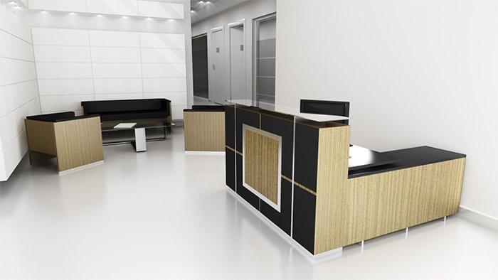 Counter de recepción moderno madera y negro