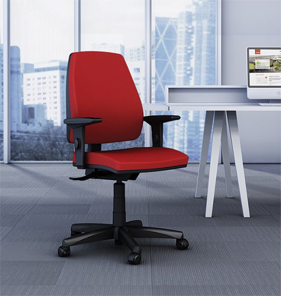 Silla de oficina con ruedas regulable color rojo
